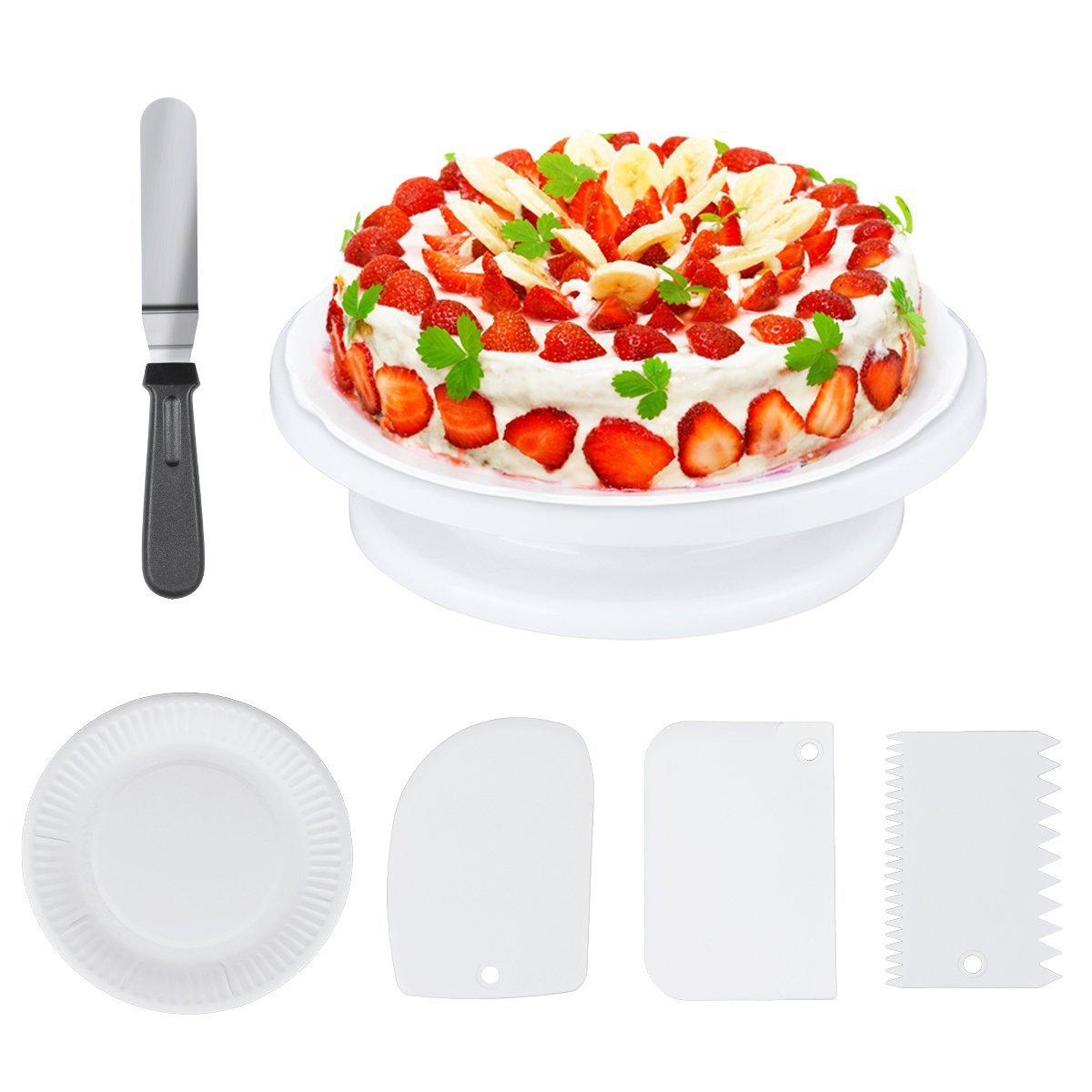 Cake Stand, Aiduy Cake Decorating Supplies Kit Includes 11 Inch Revolving Rotating Cake Turntable, 1 Angled Icing Spatula, 3 Icing Smoother Decorating Comb and 20 Cake Plates for Birthday Party