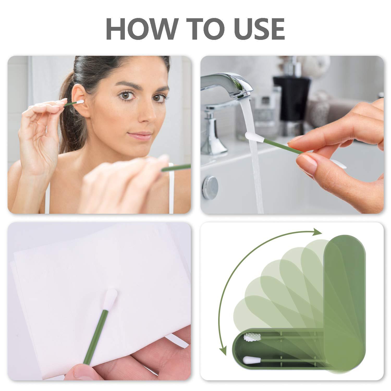 Juego de 2 bastoncillos reutilizables de algod/ón de silicona de doble punta lavables con caja a prueba de polvo y cepillo para limpieza de o/ídos y maquillaje personal para cuidado de la piel