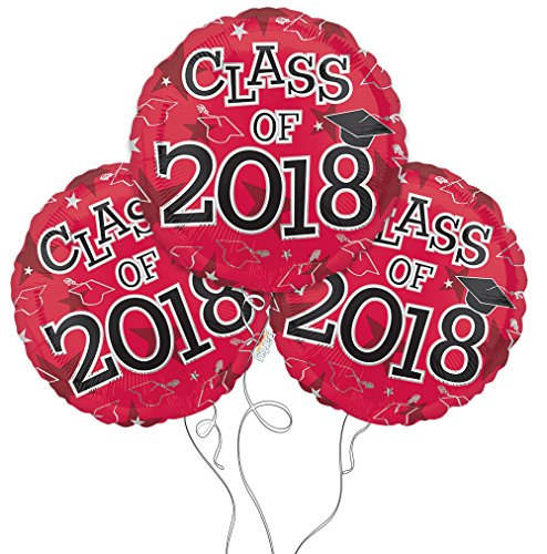 Graduation Cap Class of 2018 Mylar Balloons in Red - 3 Pack