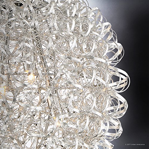 Luxury Modern Chandelier, Large Size: 23.5''H x 23.5''W, with Eclectic Style Elements, Polished Chrome Finish and Crinkled Metal Ribbon Shade, Includes G9 Xenon Bulbs, UQL2611 by Urban Ambiance by Urban Ambiance (Image #4)