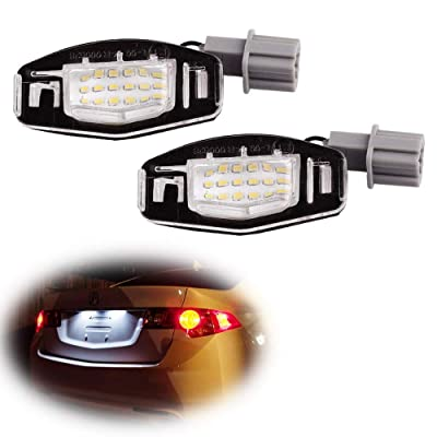 iJDMTOY OEM-Fit 3W Full LED License Plate Light Kit Compatible With Acura MDX RL TL TSX ILX Honda Civic Accord Odyssey, Powered by 18-SMD Xenon White LED: Automotive