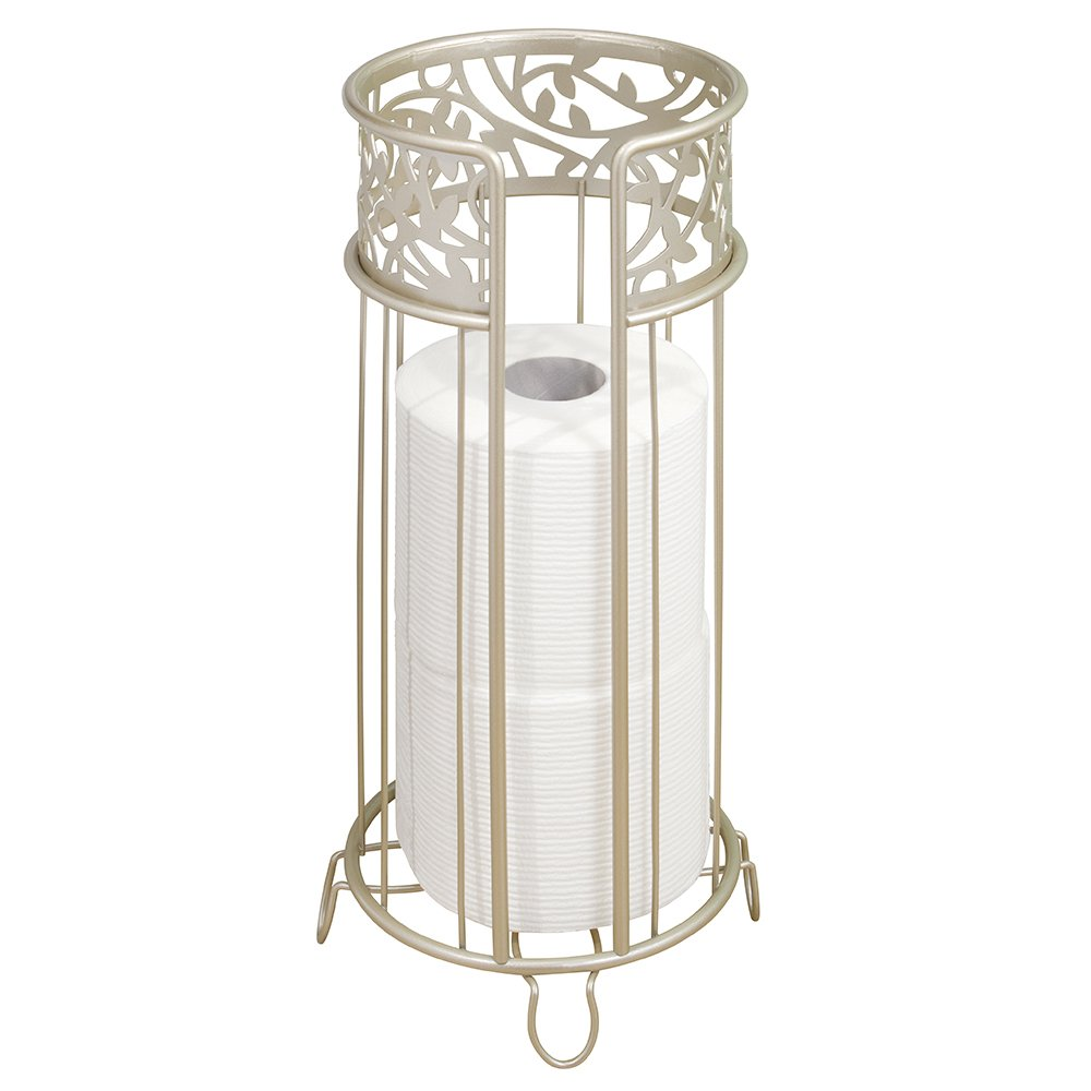 mDesign Decorative Free Standing Toilet Paper Holder Stand with Storage for 3 Rolls of Toilet Tissue - for Bathroom/Powder Room - Holds Mega Rolls - Durable Metal Wire - Satin