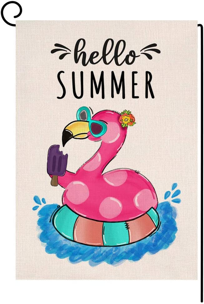 BLKWHT Beach Flamingo Garden Flag Hello Summer with Popsicle Vertical Double Sided Burlap Yard Outdoor Decor 12.5 x 18 Inches A2165