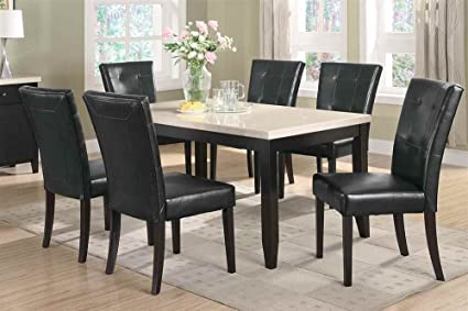 Merveilleux 7 Piece Dining Set Faux Marble Top Anisa Collection Coaster
