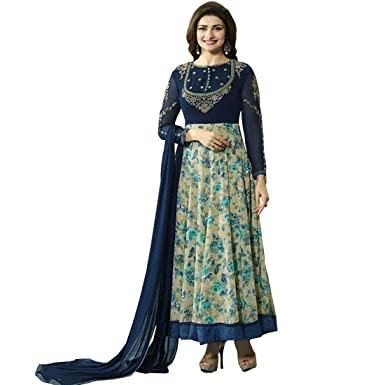 Intermall Enterprise Women s Georgette Semi-Stitched Gown (Blue   Off-White)   Amazon.in  Clothing   Accessories 8d547bd0b2