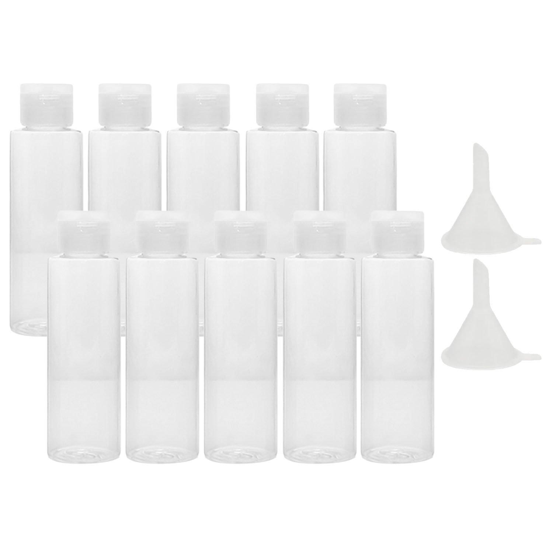 10 PCs 100ml en plastique transparent air voyage bouteilles de transport de lotion douche gel Shampooing Container avec 2 petits entonnoir pour Flight Airport Holiday Vococal