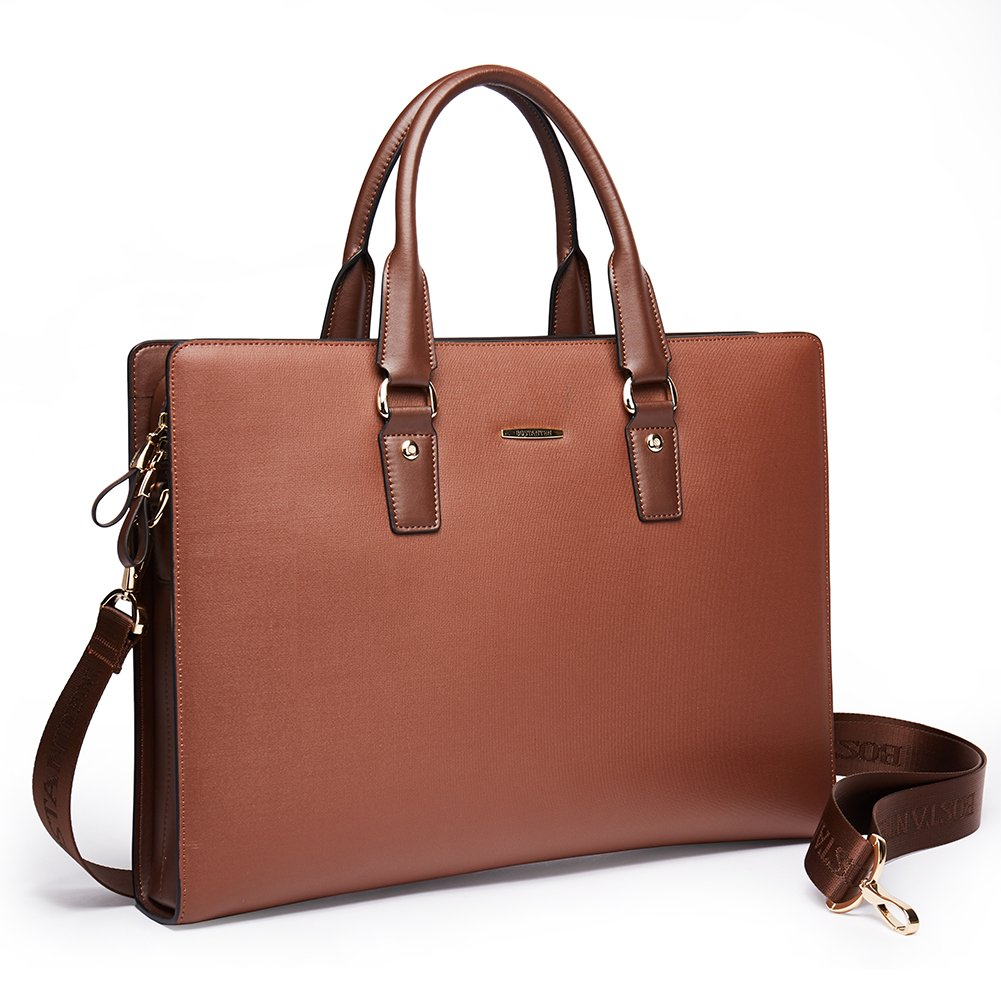 BOSTANTEN Leather Briefcase Shoulder Laptop Business Slim Bag for Men & Women 6927503720096