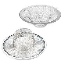 "2 pcs Heavy Duty Stainless Steel Slop Basket Filter Trap, 2.75"" Top / 1"" Mesh Metal Sink Strainer,Perfect for Kitchen Sink/Bathroom Bathtub Wash basin Floor drain balcony Drain Hole"