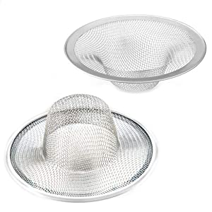 "2pcs Heavy Duty Stainless Steel Slop Basket Filter Trap, 2.75"" Top / 1"" Mesh Metal Sink Strainer,Perfect for Kitchen Sink/Bathroom Bathtub Wash basin Floor drain balcony Drain Hole"