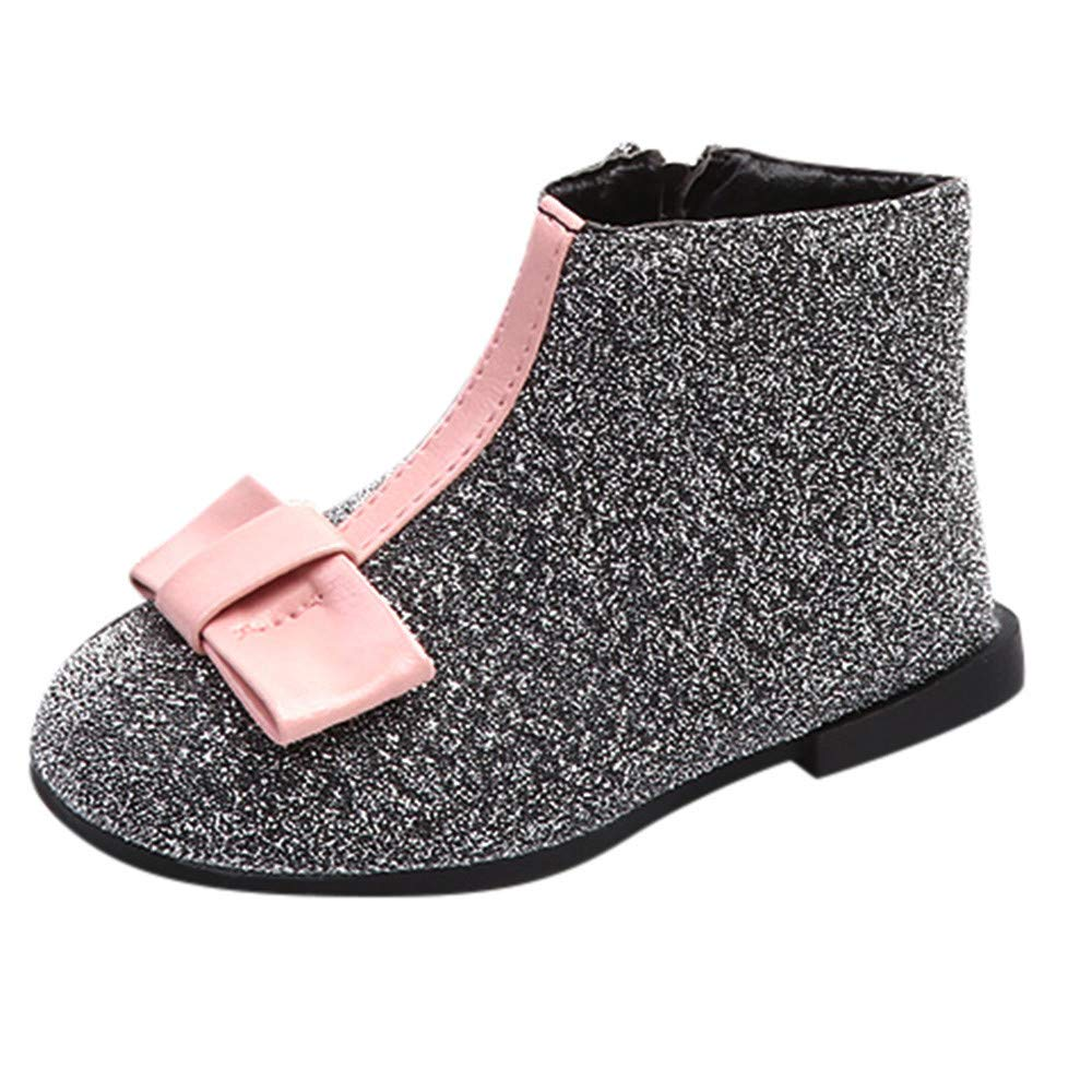 HLHN Baby Girls Snow Boots Winter Warm Sequin Martin Shoes Leather Princess Children Kids Toddler Infant Casual Bowknot