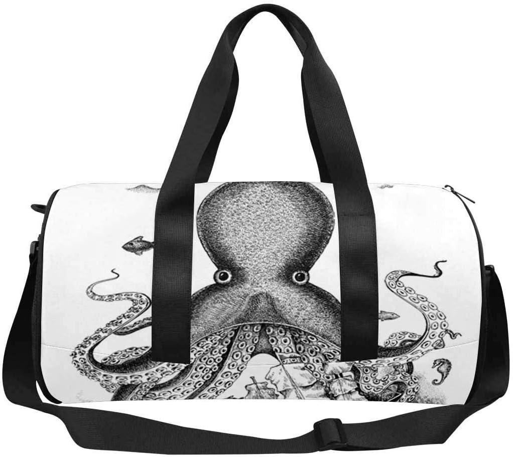 INTERESTPRINT Black and White Fantasy Octopus Travel Duffle Bag Sports Lightweight Luggage Duffel