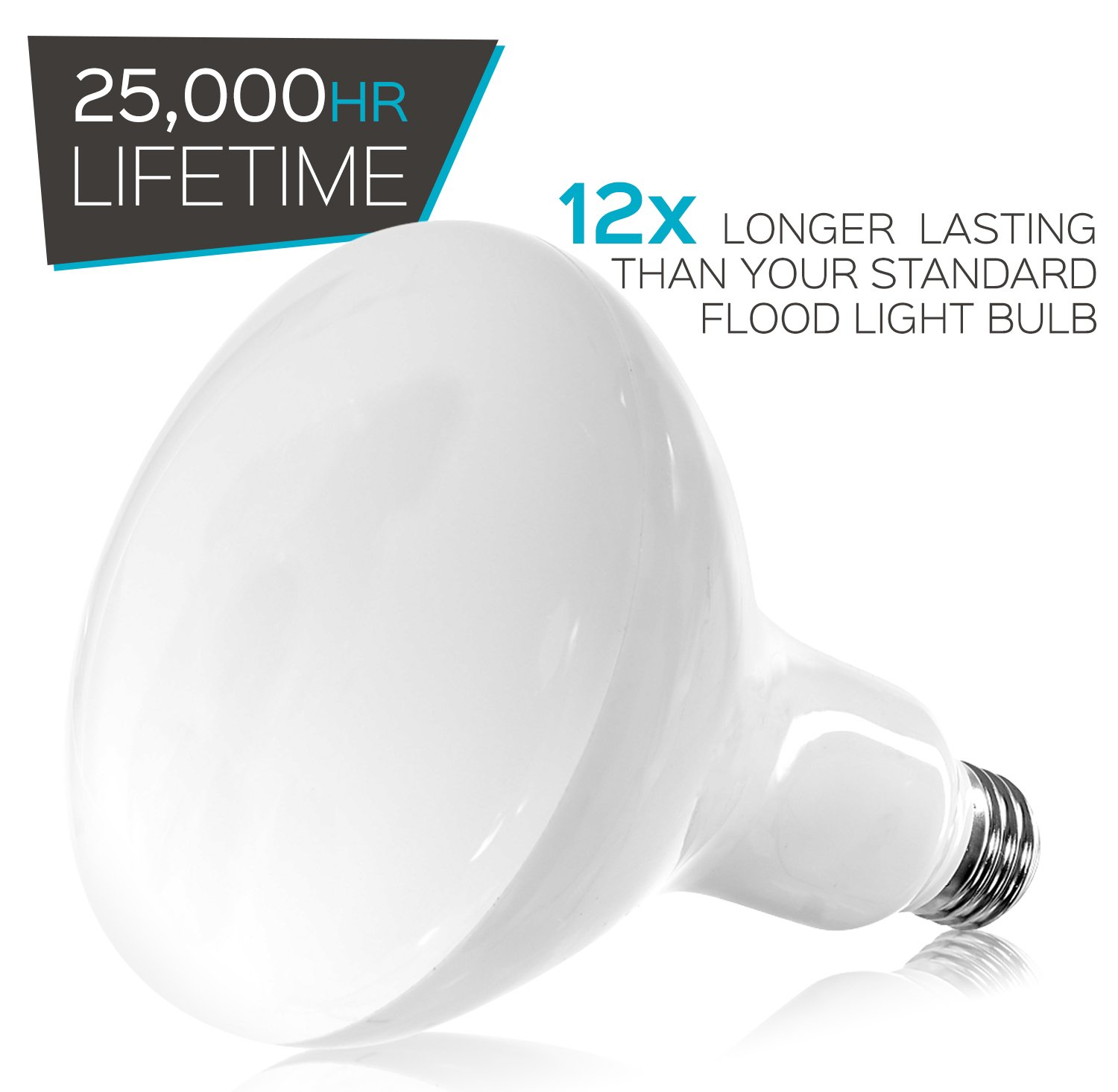 Luxrite BR40 LED Light Bulbs, 85W Equivalent, 3500K Natural White, Dimmable, 1100 Lumen, LED Flood Light Bulb, 14W, E26 Medium Base, Indoor/Outdoor - Perfect for Office and Recessed Lighting (12 Pack) by Luxrite (Image #6)