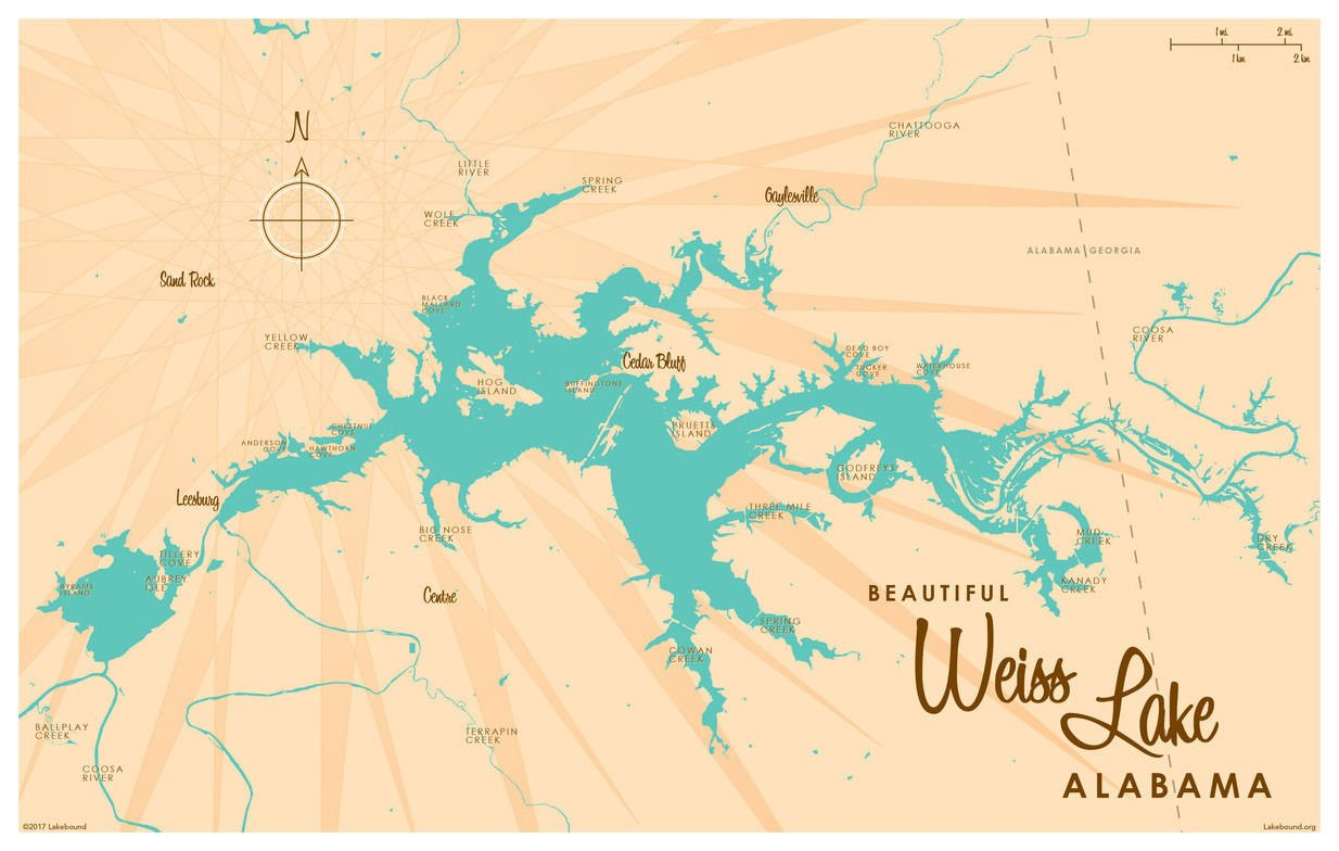 Amazon.com: Weiss Lake Alabama Map Vintage-Style Art Print by ...