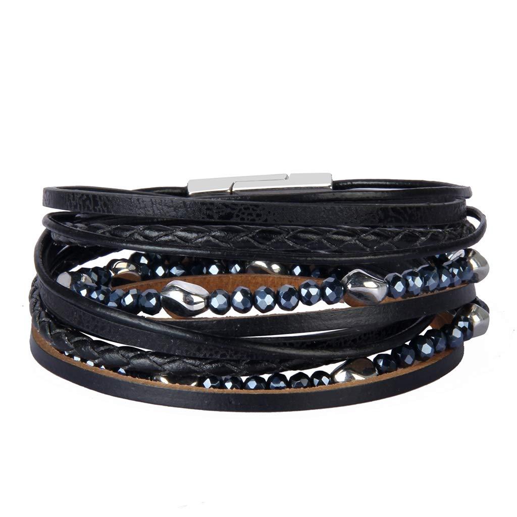Popeoiuh Genuine Leather Bracelet Cuff Bangle Crystal Beads Rope Braided Charm Wrap Bracelets Jewelry Gift for Women,Girls,Wife
