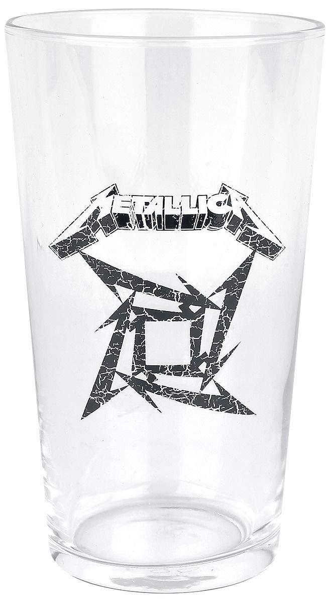 Vaso de cerveza con motivos de Metallica y logotipo en forma de estrella Ninja.