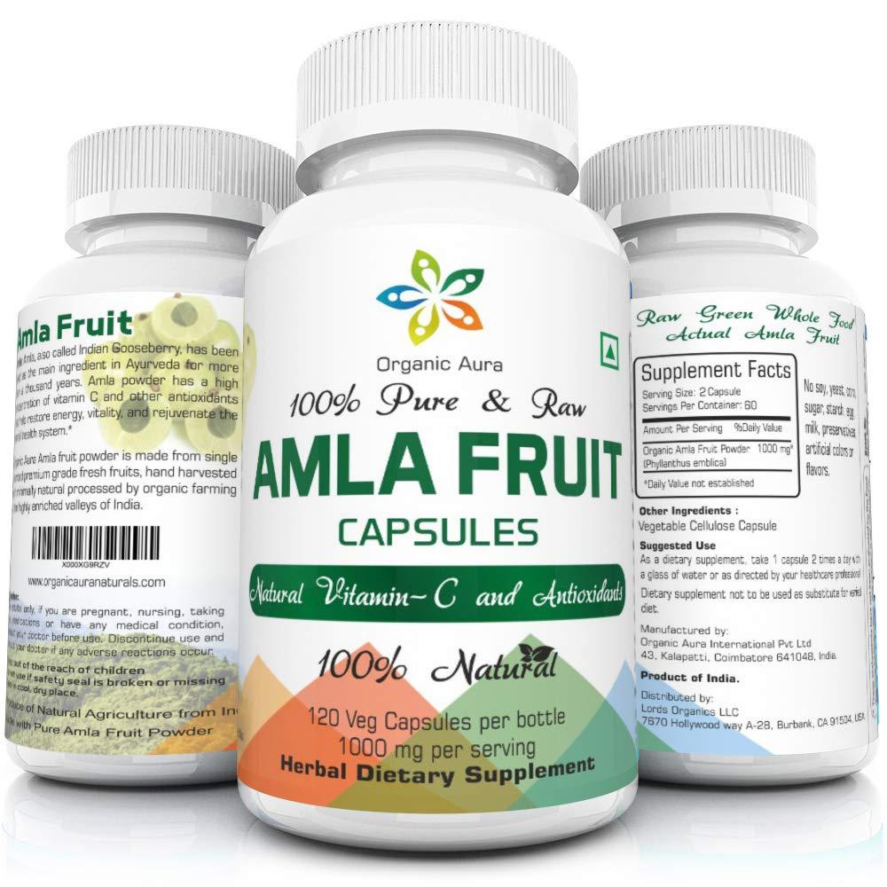 Organic Aura AMLA Capsules. 1000mg per Serving, 120 Veg Capsules. Natural Vitamin C and Antioxidants. Raw Whole Superfood. All Natural, Fresh and Original. No GMO and Gluten Free.