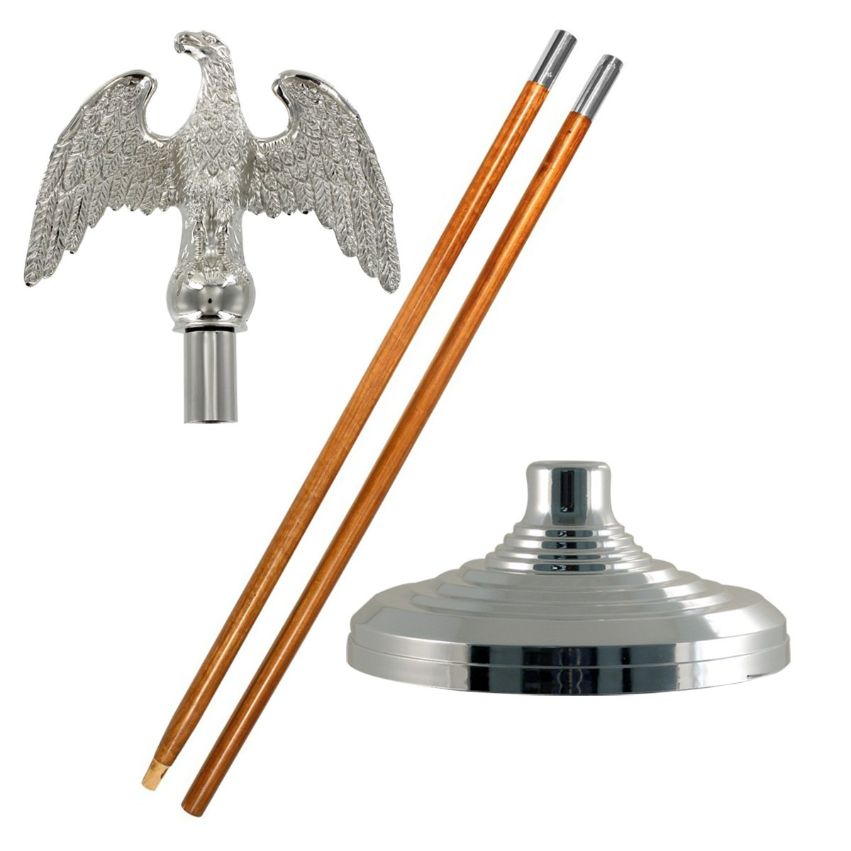Silver Indoor Flagpole Set (Metal Eagle, 9 Ft Oak Pole)