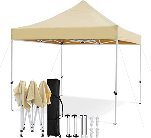 Leader Accessories Premium 10 x 10 Pop up Canopy Tent Commercial Instant Shelter Straight Leg with Wheeled Carry Bag, Beige