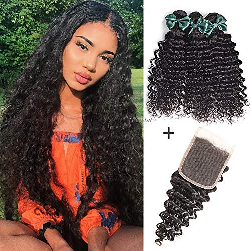 8A Brazilian Virgin Hair Deep Wave Bundles With Closure 100% Human Hair Bundles With Closure Unprocessed Virgin Hair Bundles Hair Weave Deep Curly Human Hair Extensions(14 16 18+14 free part)