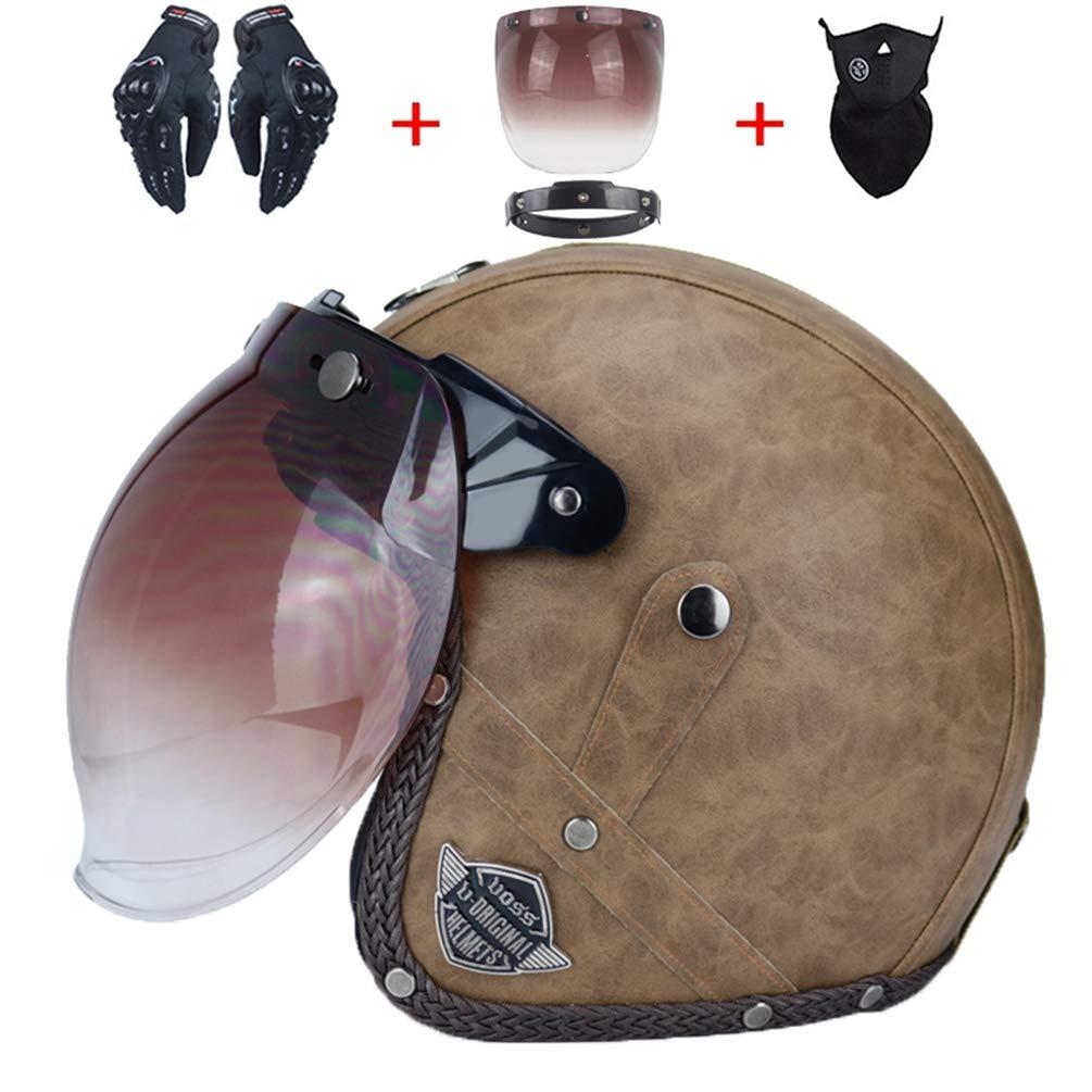 Adulto Harely moto casco retro in pelle anti shock aperto faccia moto Helmeys moto motocross tappi di sicurezza cappello per tutte le stagioni