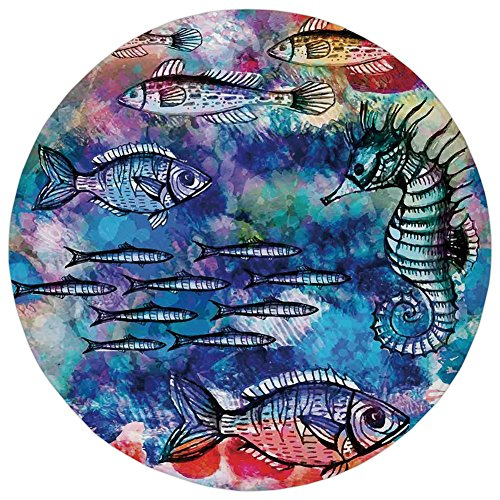 Effect Batik (Round Rug Mat Carpet,Fish Seahorse Coastal Decor,Sea Creatures Watercolor Painting Effect Batik Print Decorative,,Flannel Microfiber Non-slip Soft Absorbent,for Kitchen Floor Bathroom)