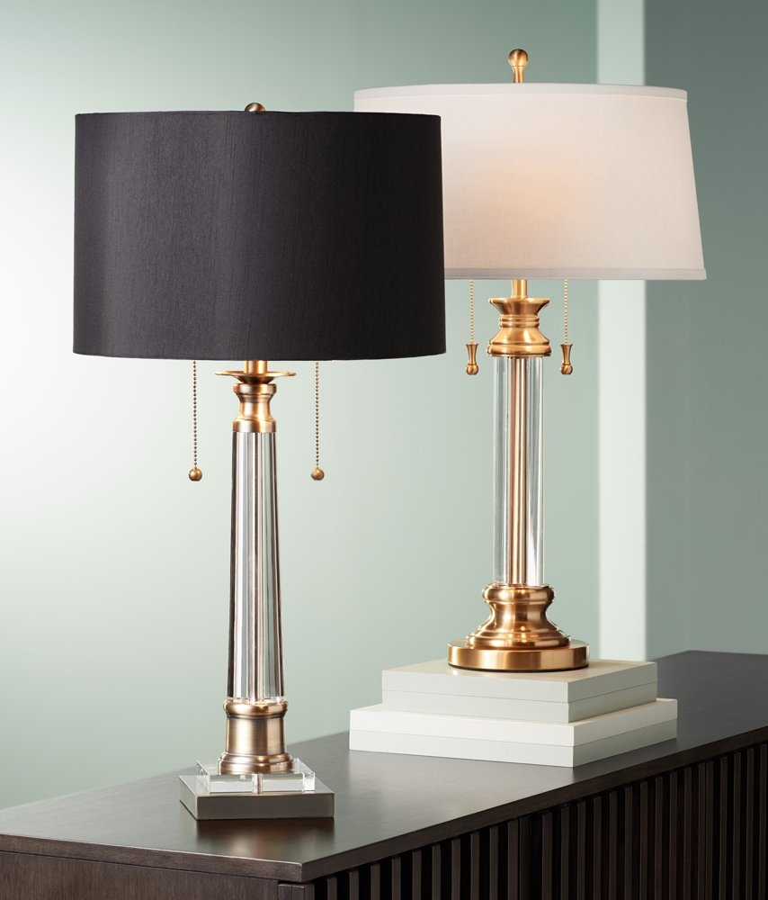 """Rolland Traditional Table Lamp Crystal Brass Column Off White Tapered Drum Shade for Living Room Family Bedroom - Vienna Full Spectrum - 30"""" high overall. Base is 7"""" wide. Shade is 16"""" across the top x 18"""" across the bottom x 9 3/4"""" high. Weighs 11.6 lbs. Uses two maximum 60 watt standard-medium base bulbs (not included). Twin on-off pull switches. Traditional two-light table lamp from Vienna Full Spectrum. - lamps, bedroom-decor, bedroom - 61dNZ4yvI0L -"""