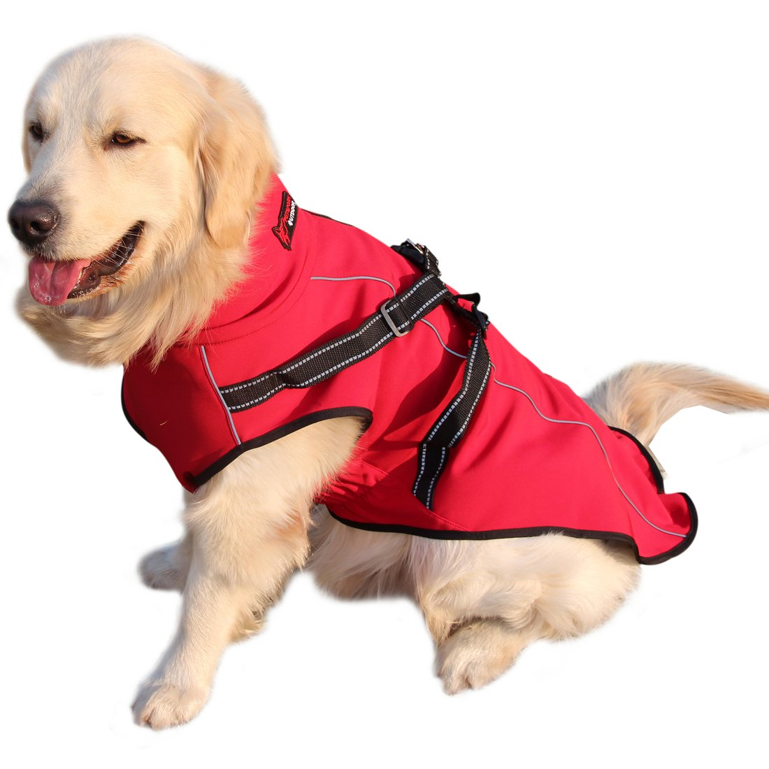 Red X-Large Red X-Large vecomfy Premium Stretchy Polyester & Warm Fleece Lined Dog Jacket for Winter,Outdoor Waterproof Dog Coats with Integrated Back Traction Belt for Large Dogs, Red XL