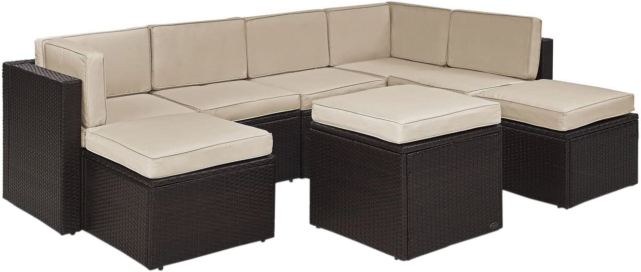 Crosley Furniture KO70008BR-SA Palm Harbor Outdoor Wicker 8-Piece Sectional Seating Set, Brown with Sand Cushions