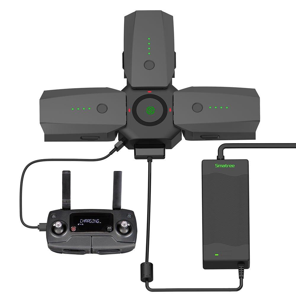 Smatree Rápido Cargador de Batería y Centro de Carga para DJI Mavic Pro/Platinum, Adaptador de Corriente de 80W Carga Rápida (Baterías y Control ...