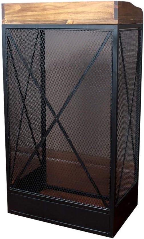 YWAWJ Atril negro de hierro forjado de malla metálica de restaurante diseño creativo de escritorio de madera sólida lectura elevada superficie del escritorio pequeño hostal de Escritorio Retro Hotel M