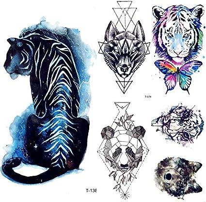 yyyDL tatuajes temporales Estrella azul Galaxia Universo Tigre ...