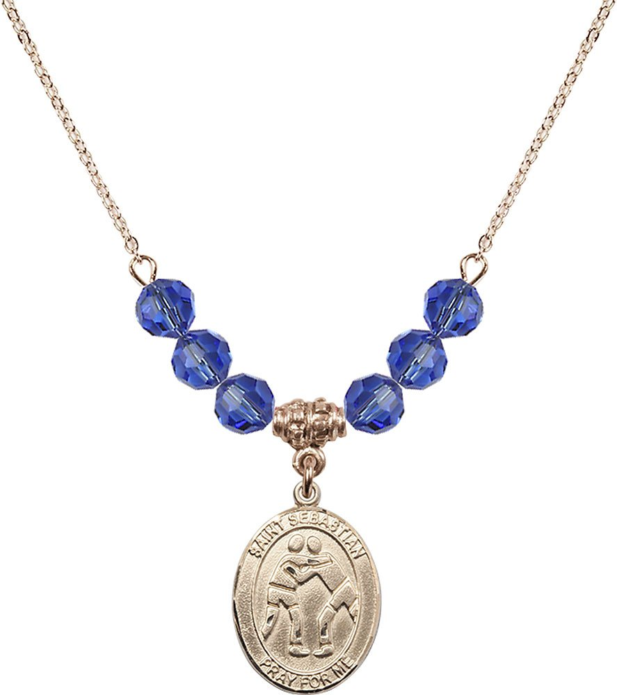Gold Plated Necklace with 6mm Sapphire Birthstone Beads & Saint Sebastian/Wrestling Charm.