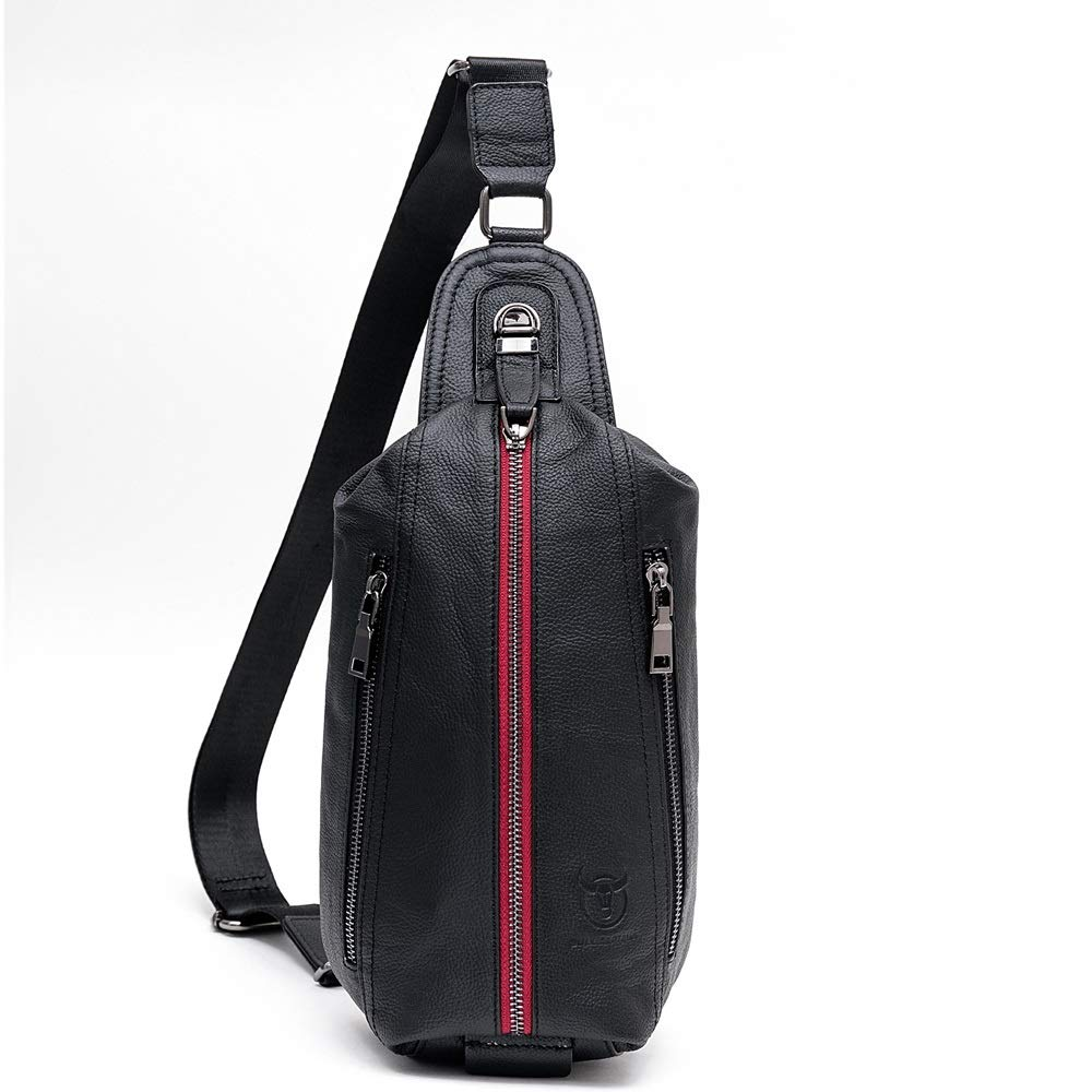 MUMUWU Mens Leather Chest Bag Shoulder Messenger Bag Sports Casual Leather Fashion Computer Chest Bag Color : Gray, Size : M