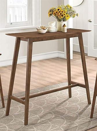 Amazon.com: Coster rectangular mesa alta de bar (Nogal ...