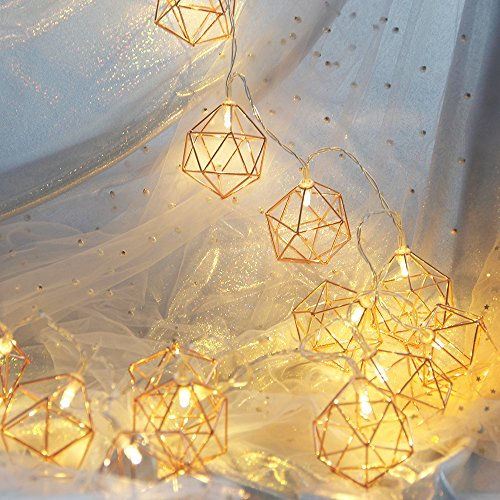 Decorative String Lights, Rhombus Hexagon Gold Metal Pineapple LED String Lights 20 LED Battery Powered For Home Bedroom Wedding Patio Party Festival Outdoor Indoor Decoration (3M/9.8FT/Warm White) by iLoving