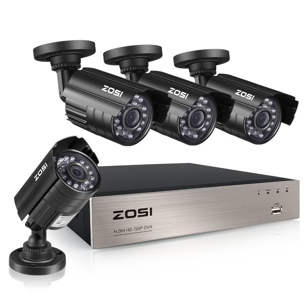 ZOSI 8-Channel HD-TVI 1080N 720P Video Security System DVR Recorder with 4X HD 1280TVL Indoor Outdoor Weatherproof CCTV Cameras NO Hard Drive Smartphone PC Easy Remote Access Renewed