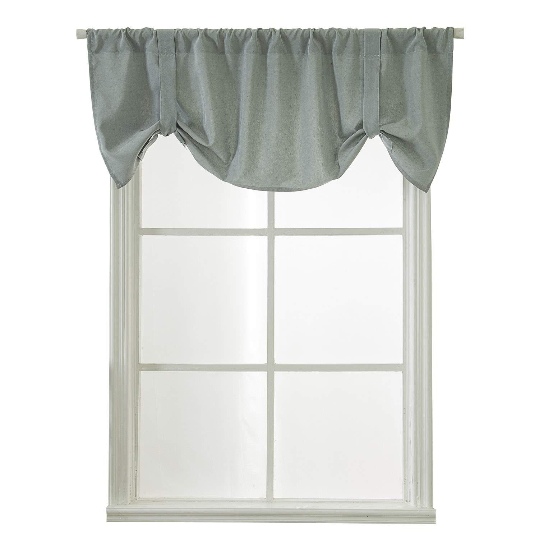 WUBODTI Grey Green Valance Curtain for Kitchen Window,Room Darkening Tie Up Shade Drapes Thermal Insulated Curtain Valance Rod Pocket for Kitchen,Bathroom,52x18 Inch