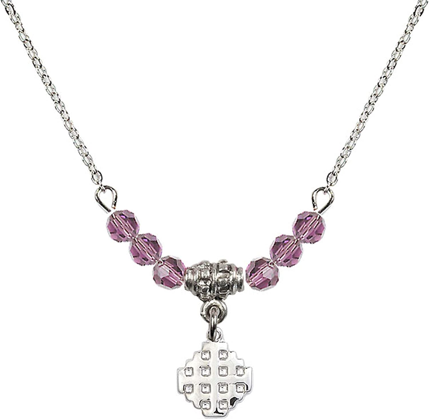 18 Inch Rhodium Plated Necklace w// 4mm Light Purple February Birth Month Stone Beads and Jerusalem Cross Charm
