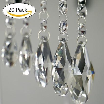 Amazon pendants clear teardrop chandelier crystal pendants pendants clear teardrop chandelier crystal pendants glass pendants beads pack of 20 38mm aloadofball Choice Image