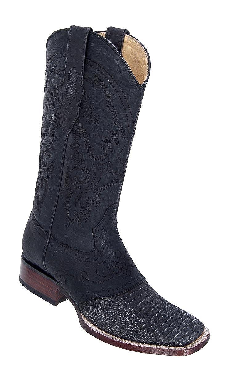 Genuine Lizard Distressed Black Wide Square Toe Los Altos Mens Western Cowboy Boot 8210774