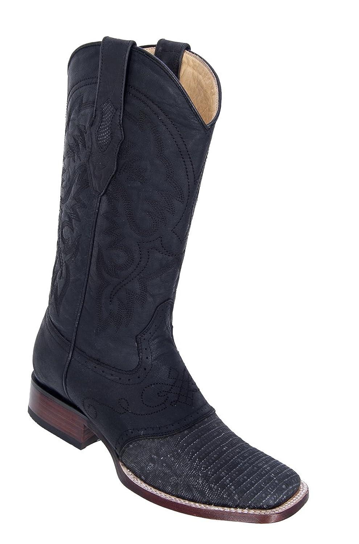 Genuine LIZARD DISTRESSED BLACK WIDE SQUARE Toe Los Altos Men's Western Cowboy Boot 8210774