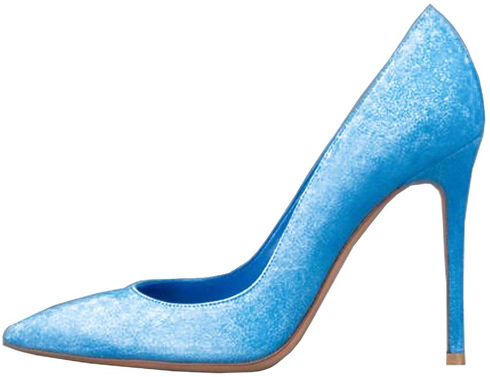 Calaier Mujer Cacloudy Tacón De Aguja 12CM Sintético Ponerse Zapatos de tacón 42 Azul