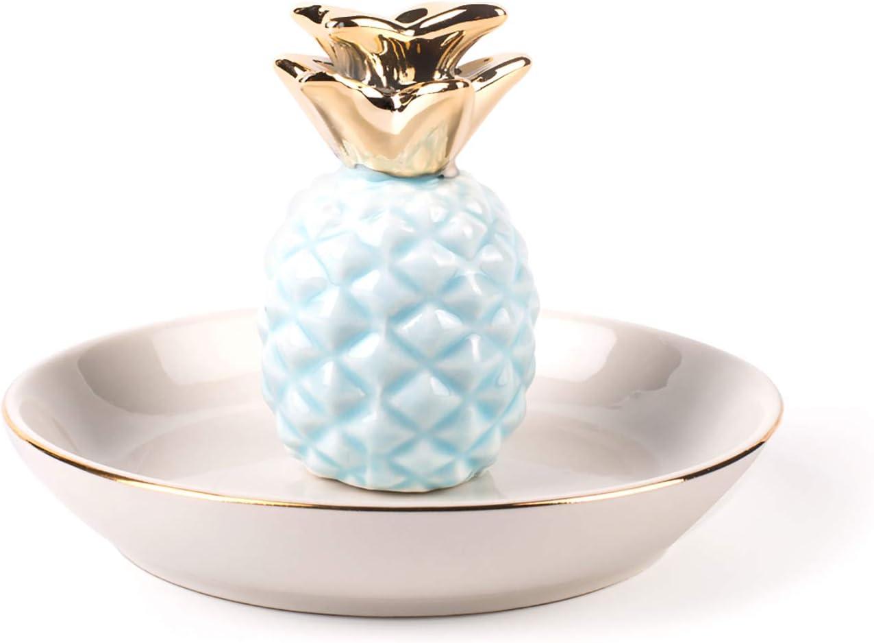 BESKIT Ceramic Pineapple Ring Holder Decor Jewelry Organizer, Pineapple Jewelry Tray