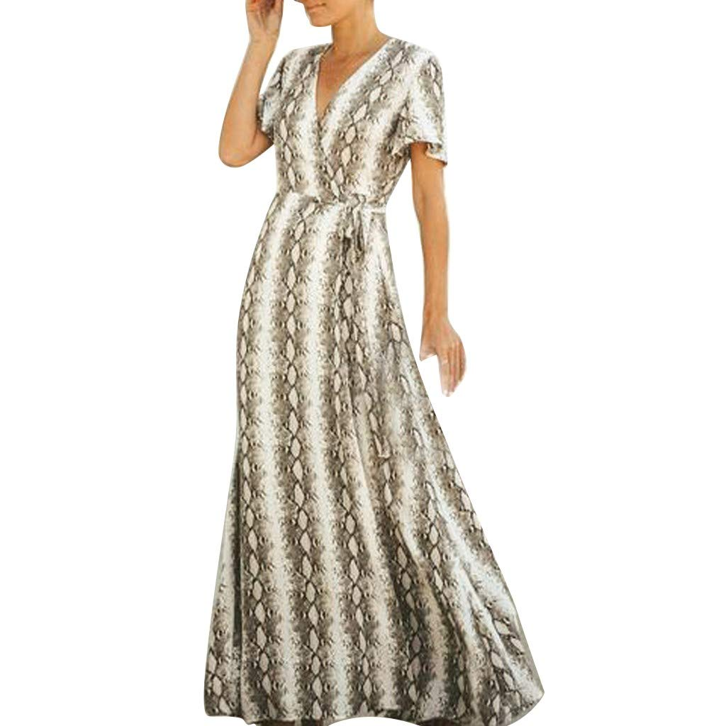 Women's V-Neck Snake-Lined Dress Short Sleeve Snake Print Loose Long Maxi Tank Brown by HJuyYuah