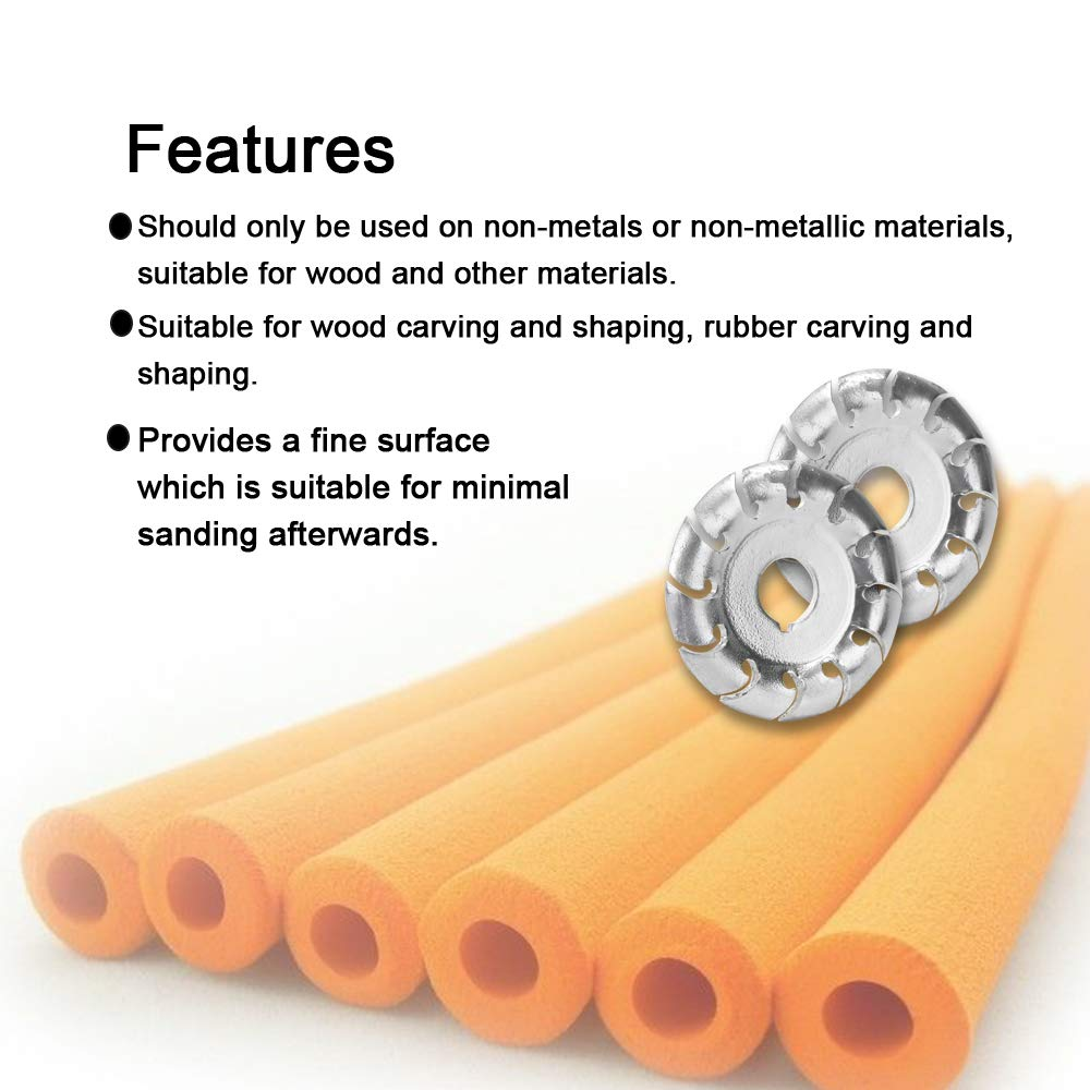 Multifunctional High Hardness Wood Carving Disc 12 Teeth 16mm Bore Hole 65mm Diameter Wood Shaping Angle Grinder Woodworking Tool