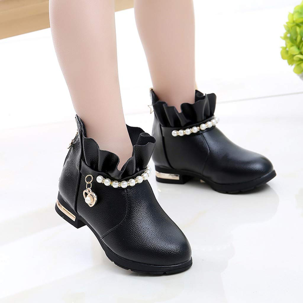 Children Infant Kids Baby Girls Winter Warm Pearl Heart Short Boots Casual Shoes Unisex First Pram H3 Winter Baby Shoes Christmas First Birthday Gift Cute Sweet Shoes UK Sale