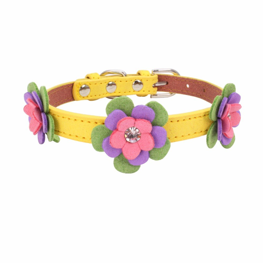 Exquisite Adjustable Woven Diamond Flower Dog Puppy Pet Collars Water Drill Knitted Dog Collar For Small Dogs Cats Cute Collar For Girls And Boys Collar Pet Cat Dogs Puppy Necklace (Yellow, S)