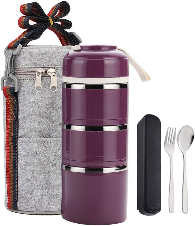 YBOBK HOME Bento Lunch Box Leakproof Stainless Steel Stackable Lunch Box with Bag and Reusable Flatware Set Thermal Food Storage Container for Healthy On-the-Go Meal and Snack Packing (3-Tier, Purple)