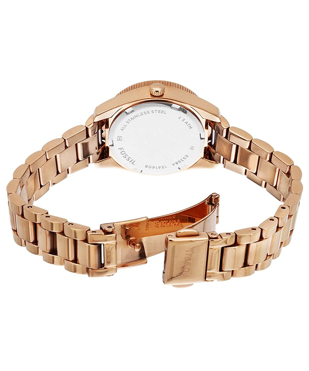 Fossil Womens Es3584 Small Perfect Boyfriend Three Hand Es3380 Original Chronograph Rose Tone Stainless Steel Watch Gold Watches