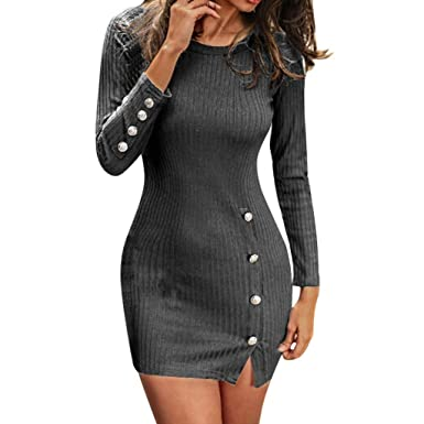 5e2830e0366 DressLksnf Robe Pull Femme Fente latérale Bouton Serré Sexy Vêtements pour  Femmes Couleur foncée Jupe Pull